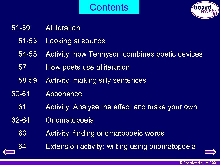 Contents 51 -59 Alliteration 51 -53 Looking at sounds 54 -55 Activity: how Tennyson