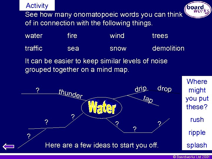 Activity See how many onomatopoeic words you can think of in connection with the