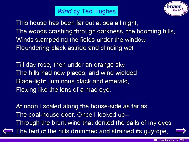 Wind by Ted Hughes This house has been far out at sea all night,