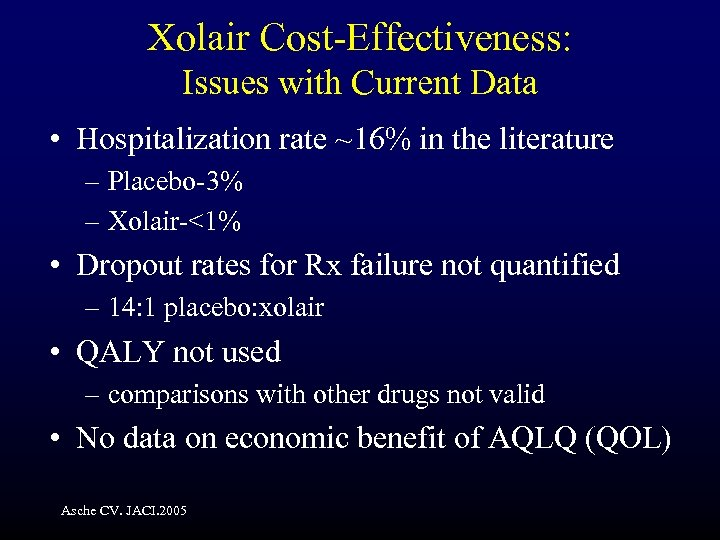 Xolair Cost-Effectiveness: Issues with Current Data • Hospitalization rate ~16% in the literature –