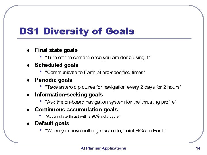 "DS 1 Diversity of Goals l l l Final state goals • ""Turn off"