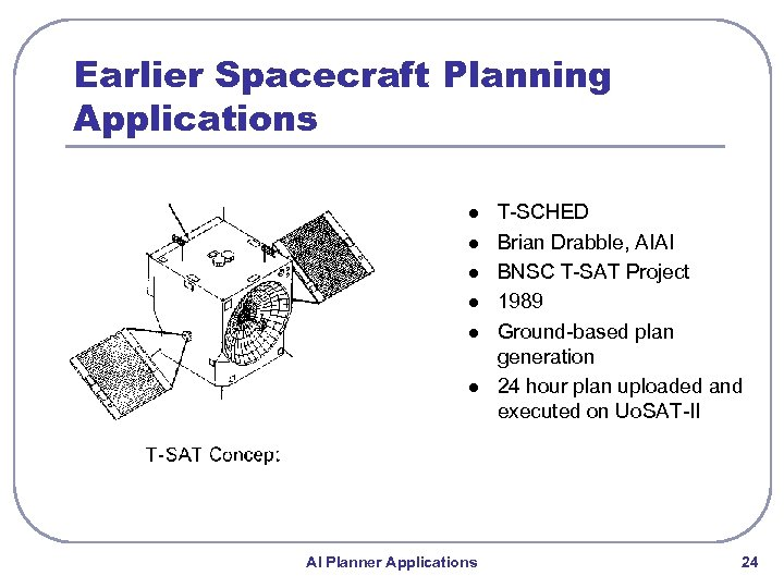 Earlier Spacecraft Planning Applications l l l AI Planner Applications T-SCHED Brian Drabble, AIAI