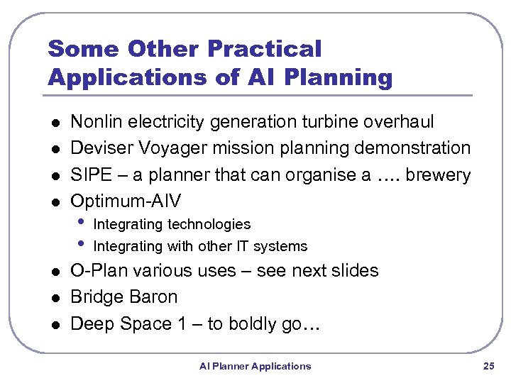 Some Other Practical Applications of AI Planning l l l l Nonlin electricity generation