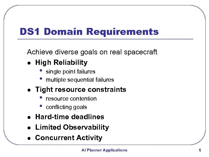 DS 1 Domain Requirements Achieve diverse goals on real spacecraft l High Reliability •