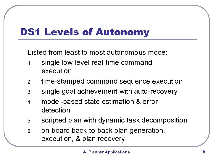 DS 1 Levels of Autonomy Listed from least to most autonomous mode: 1. single