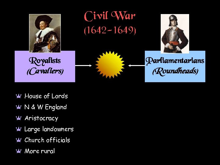 Civil War (1642 -1649) Royalists Parliamentarians (Cavaliers) (Roundheads) a House of Lords a N