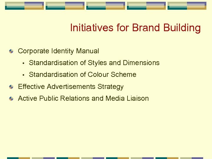 Initiatives for Brand Building Corporate Identity Manual • Standardisation of Styles and Dimensions •