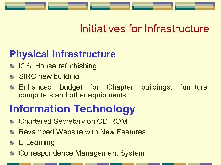 Initiatives for Infrastructure Physical Infrastructure ICSI House refurbishing SIRC new building Enhanced budget for