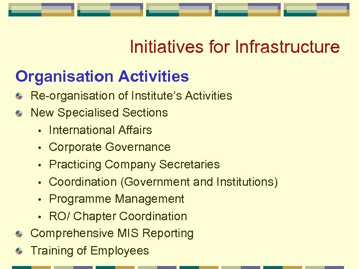 Initiatives for Infrastructure Organisation Activities Re-organisation of Institute's Activities New Specialised Sections • International