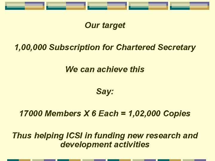Our target 1, 000 Subscription for Chartered Secretary We can achieve this Say: 17000