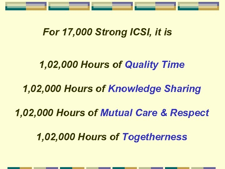 For 17, 000 Strong ICSI, it is 1, 02, 000 Hours of Quality Time