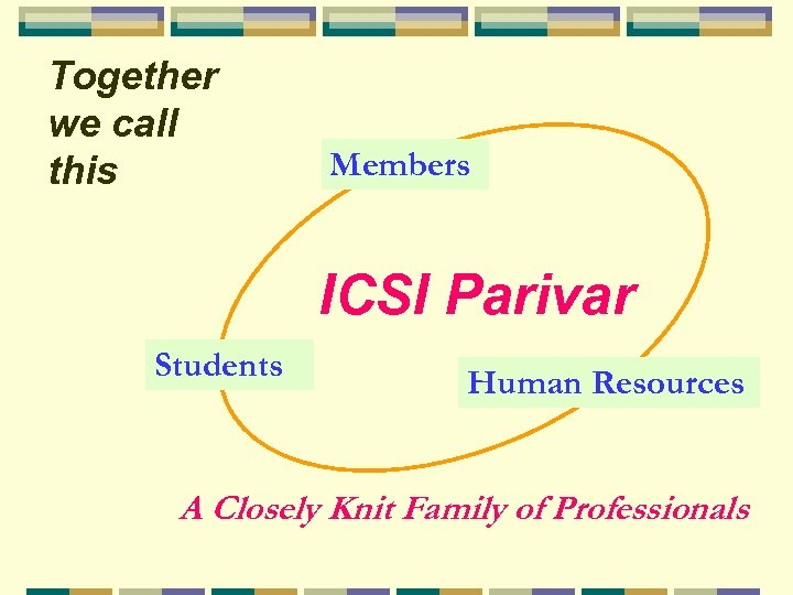 Together we call this Members ICSI Parivar Students Human Resources A Closely Knit Family
