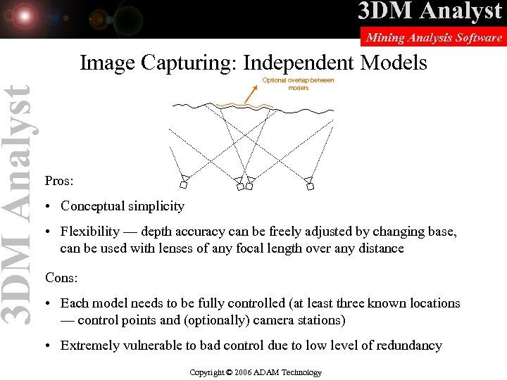 3 DM Analyst Mining Analysis Software Image Capturing: Independent Models Optional overlap between models