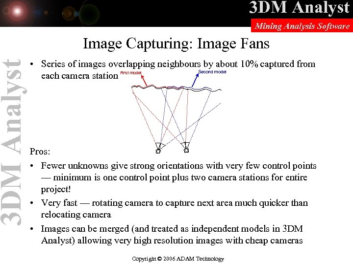 3 DM Analyst Mining Analysis Software Image Capturing: Image Fans • Series of images