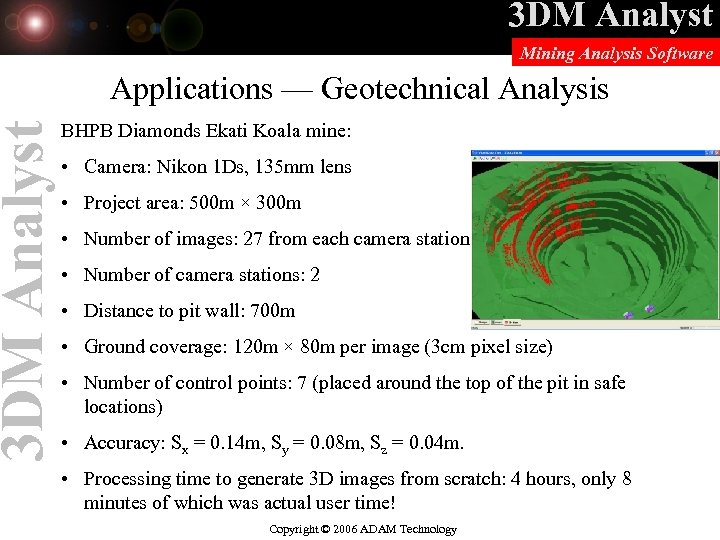 3 DM Analyst Mining Analysis Software Applications — Geotechnical Analysis BHPB Diamonds Ekati Koala