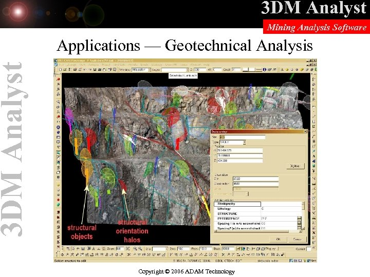 3 DM Analyst Mining Analysis Software 3 DM Analyst Applications — Geotechnical Analysis Copyright