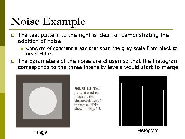 Noise Example p The test pattern to the right is ideal for demonstrating the