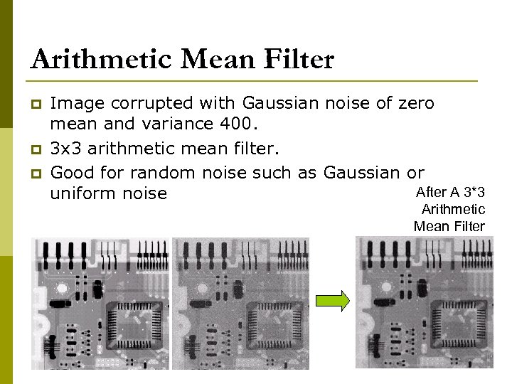 Arithmetic Mean Filter p p p Image corrupted with Gaussian noise of zero mean