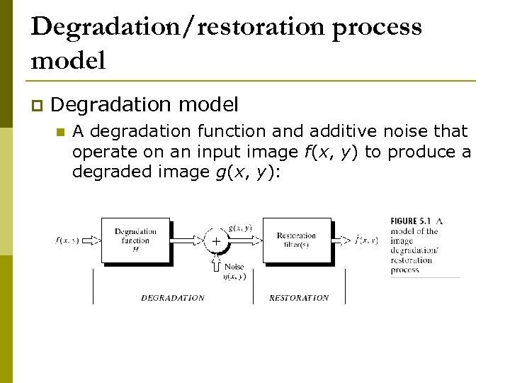 Degradation/restoration process model p Degradation model n A degradation function and additive noise that