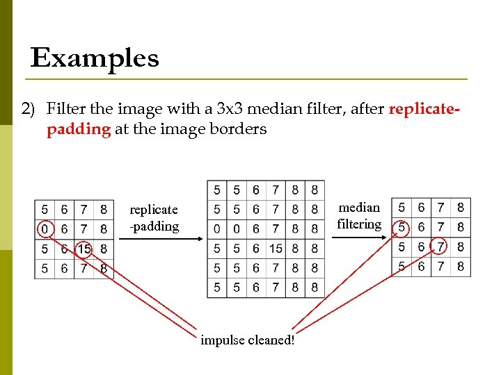 Examples 2) Filter the image with a 3 x 3 median filter, after replicatepadding