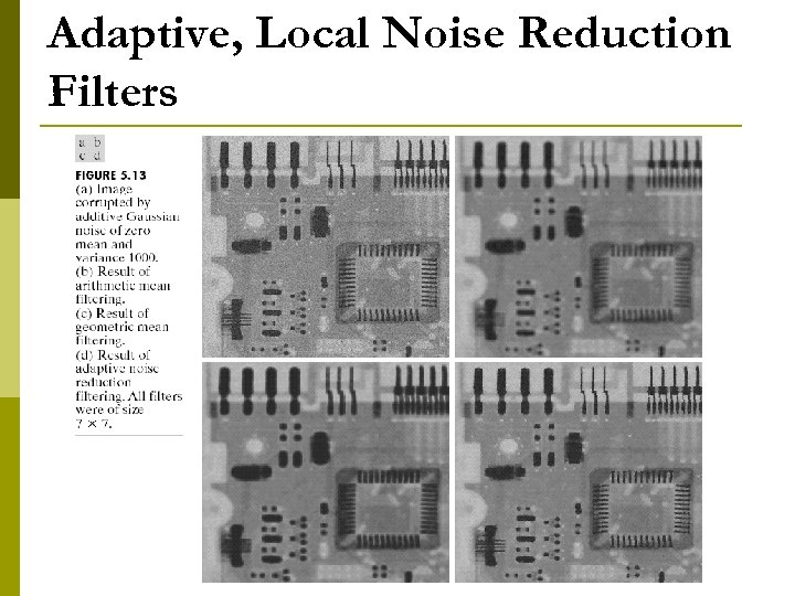 Adaptive, Local Noise Reduction Filters