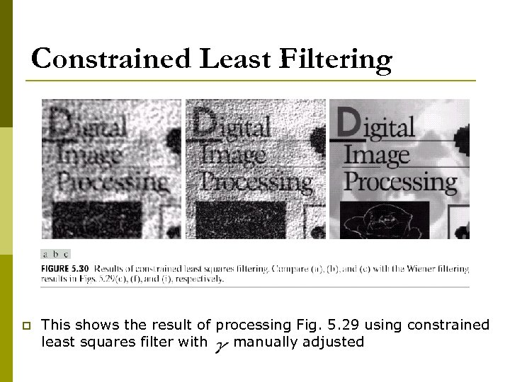 Constrained Least Filtering p This shows the result of processing Fig. 5. 29 using