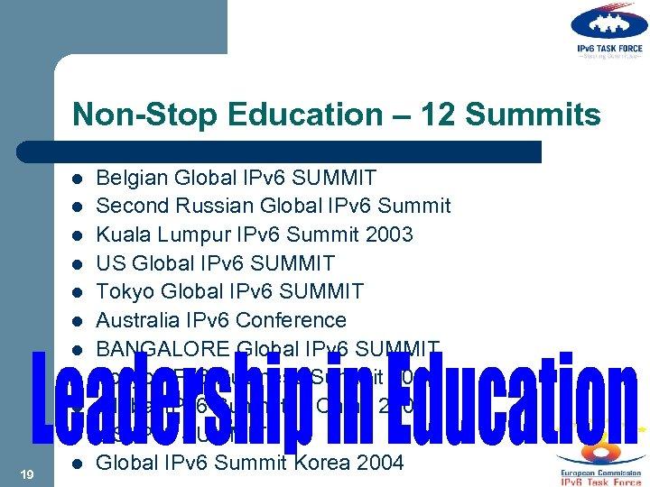 Non-Stop Education – 12 Summits l l l l l 19 l Belgian Global