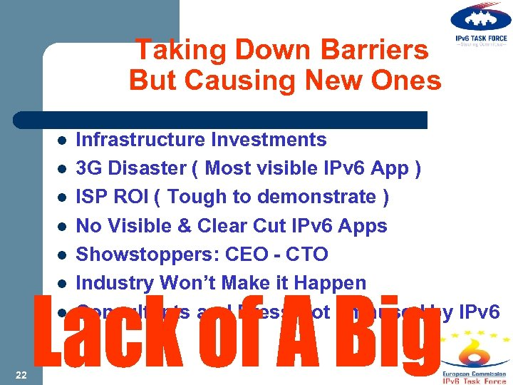 Taking Down Barriers But Causing New Ones l l l l 22 Infrastructure Investments
