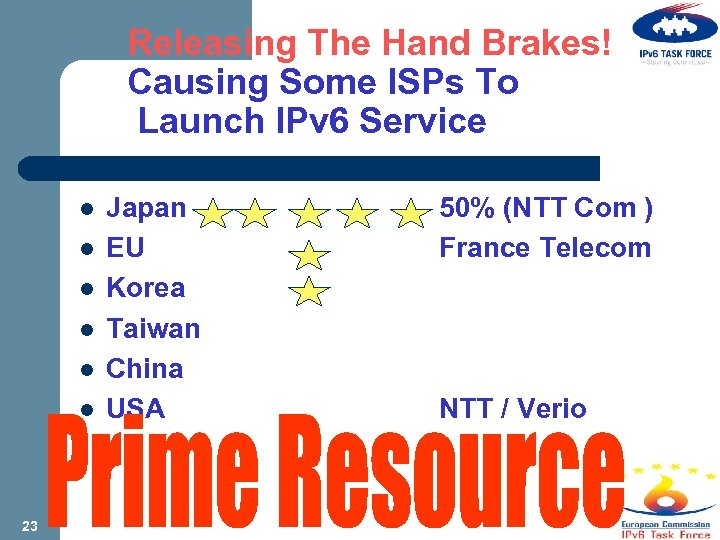 Releasing The Hand Brakes! Causing Some ISPs To Launch IPv 6 Service l l