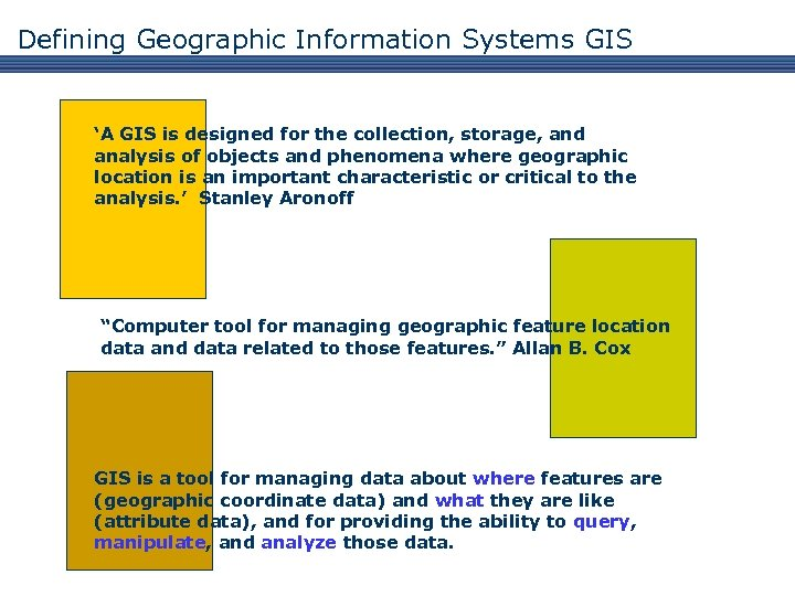 Defining Geographic Information Systems GIS 'A GIS is designed for the collection, storage, and