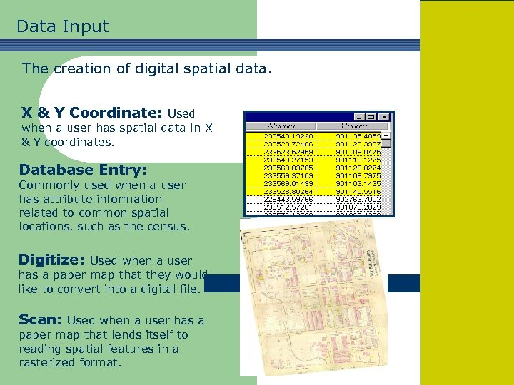 Data Input The creation of digital spatial data. X & Y Coordinate: Used when
