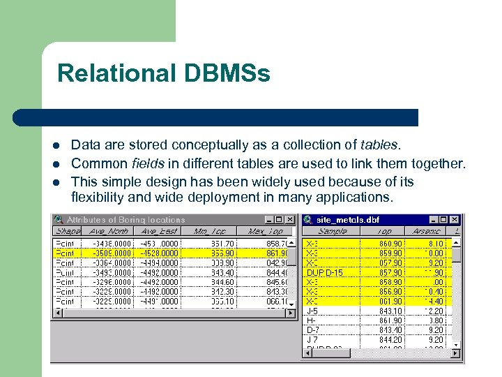Relational DBMSs l l l Data are stored conceptually as a collection of tables.