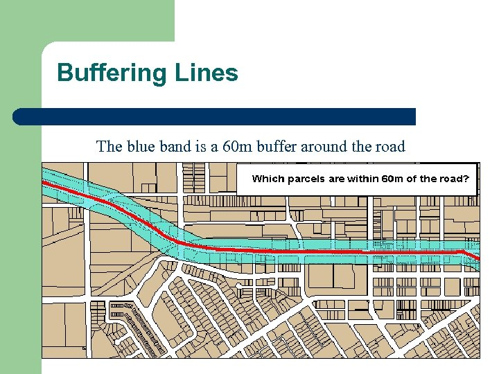 Buffering Lines The blue band is a 60 m buffer around the road