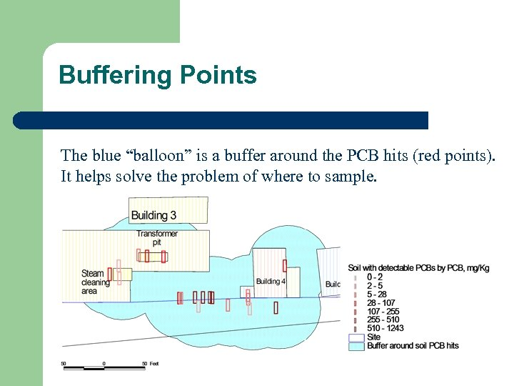 """Buffering Points The blue """"balloon"""" is a buffer around the PCB hits (red points)."""
