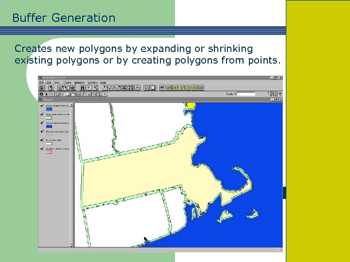 Buffer Generation Creates new polygons by expanding or shrinking existing polygons or by creating