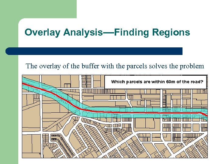 Overlay Analysis—Finding Regions The overlay of the buffer with the parcels solves the problem