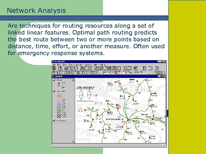 Network Analysis Are techniques for routing resources along a set of linked linear features.
