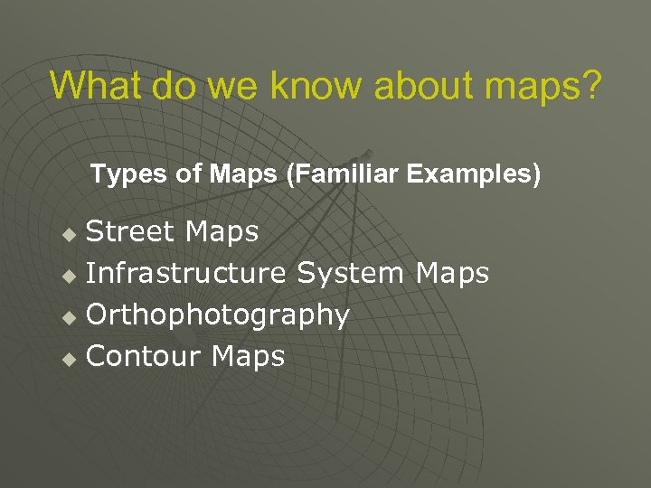What do we know about maps? Types of Maps (Familiar Examples) Street Maps u