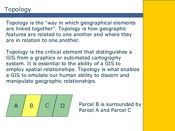 """Topology is the """"way in which geographical elements are linked together"""". Topology is how"""