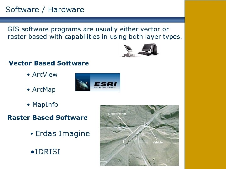 Software / Hardware GIS software programs are usually either vector or raster based with