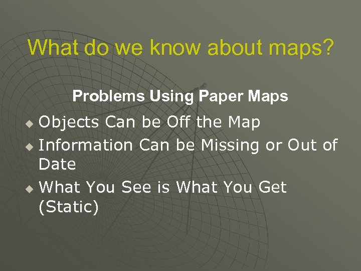 What do we know about maps? Problems Using Paper Maps Objects Can be Off
