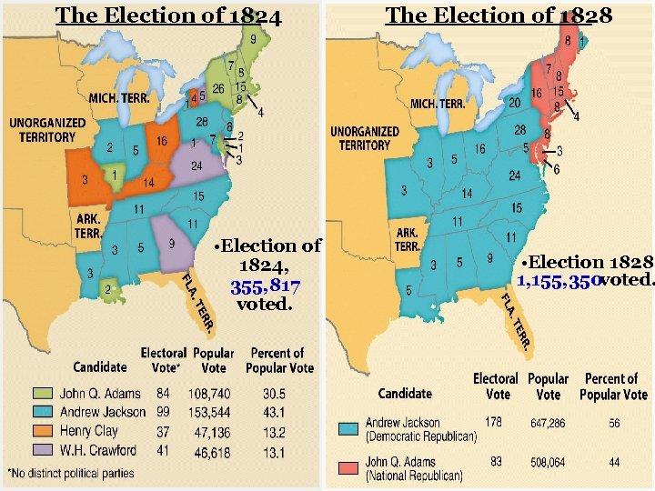 The Election of 1824 • Election of 1824, 355, 817 voted. The Election of