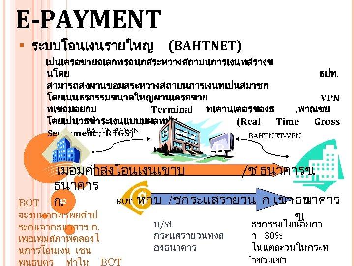 E-PAYMENT § ระบบโอนเงนรายใหญ (BAHTNET) เปนเครอขายอเลกทรอนกสระหวางสถาบนการเงนทสรางข นโดย ธปท. สามารถสงผานขอมลระหวางสถาบนการเงนทเปนสมาชก โดยเนนธรกรรมขนาดใหญผานเครอขาย VPN ทเชอมอยกบ Terminal ทเคานเตอรของธ. พาณชย