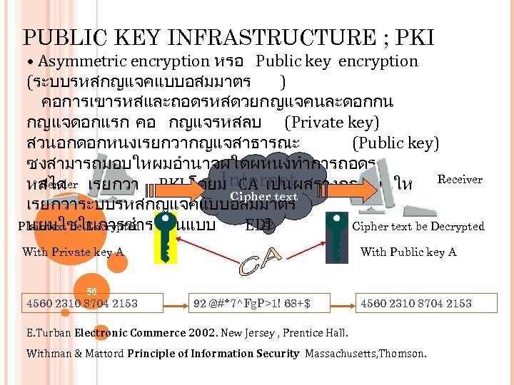PUBLIC KEY INFRASTRUCTURE ; PKI • Asymmetric encryption หรอ Public key encryption (ระบบรหสกญแจคแบบอสมมาตร )