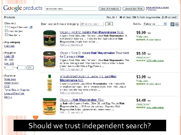 72 Should we trust independent search?