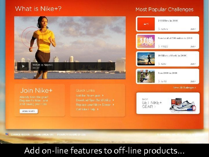 93 Add on-line features to off-line products…