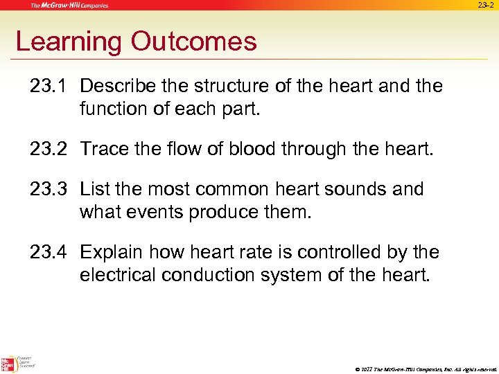 23 -2 Learning Outcomes 23. 1 Describe the structure of the heart and the
