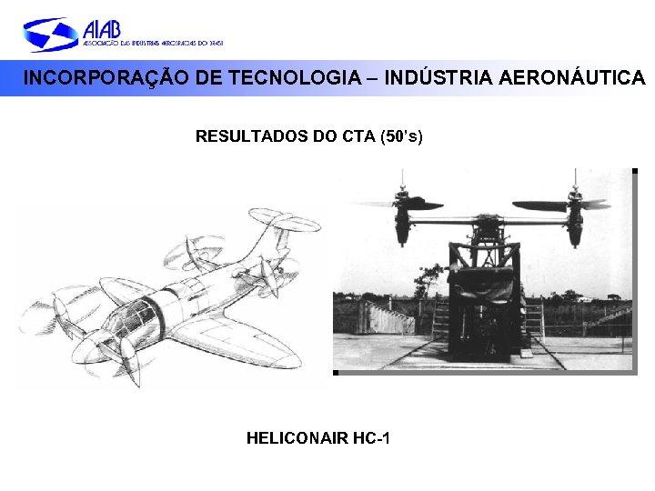 INCORPORAÇÃO DE TECNOLOGIA – INDÚSTRIA AERONÁUTICA RESULTADOS DO CTA (50's) HELICONAIR HC-1
