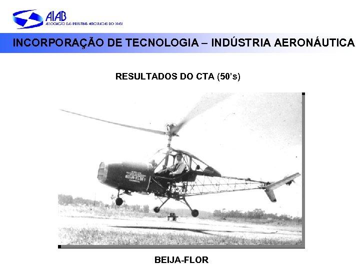 INCORPORAÇÃO DE TECNOLOGIA – INDÚSTRIA AERONÁUTICA RESULTADOS DO CTA (50's) BEIJA-FLOR