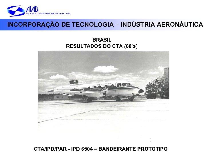 INCORPORAÇÃO DE TECNOLOGIA – INDÚSTRIA AERONÁUTICA BRASIL RESULTADOS DO CTA (60's) CTA/IPD/PAR - IPD
